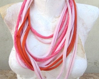 Recycled fabric necklace-scarf statement accessory with magnetic closure