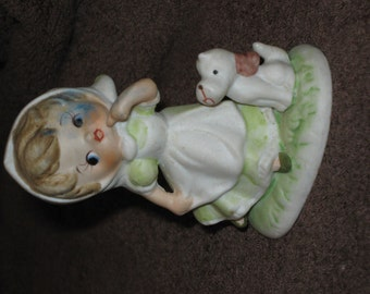 Vintage Little Girl with her best Friend getting into Mischief Figurine , excellent condition