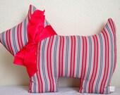 Plush Scottie Dog Red White and Blue Stripe Nursery Decor Stuffed Pillow
