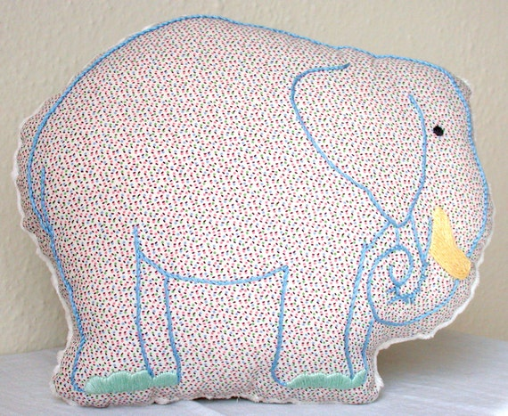Embroidered Elephant Nursery Pillow