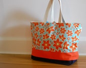 EXTRA Large Beach Bag // Tote in Orange and Aqua Flowers