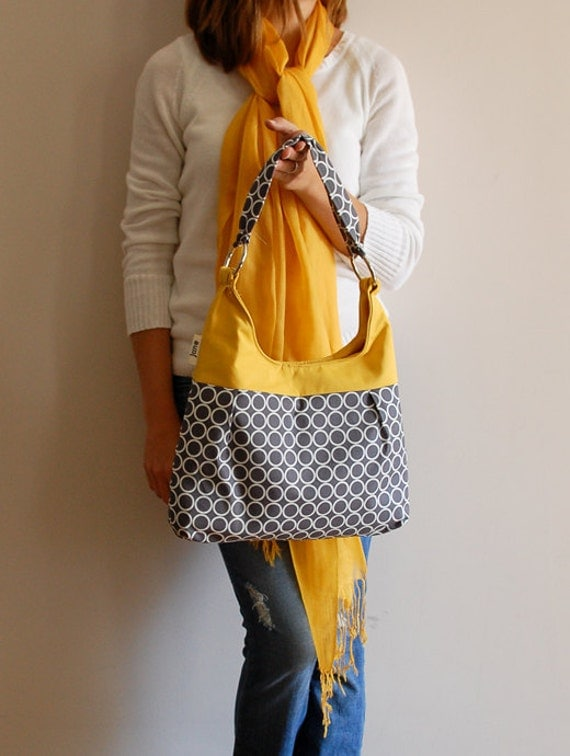 Metro Dots in Grey and Mustard Pleated Purse