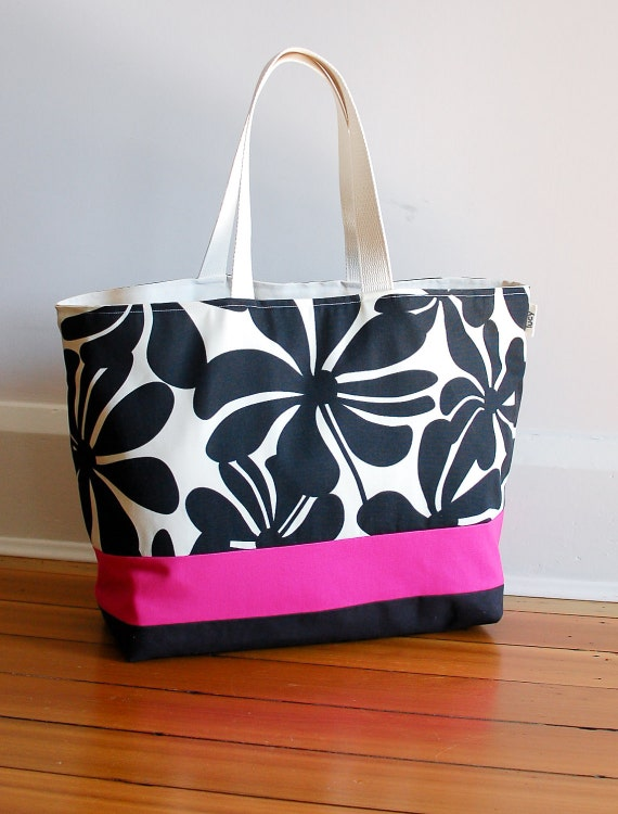 EXTRA Large Beach Bag // Tote in Black Floral with a pinch of Hot Pink