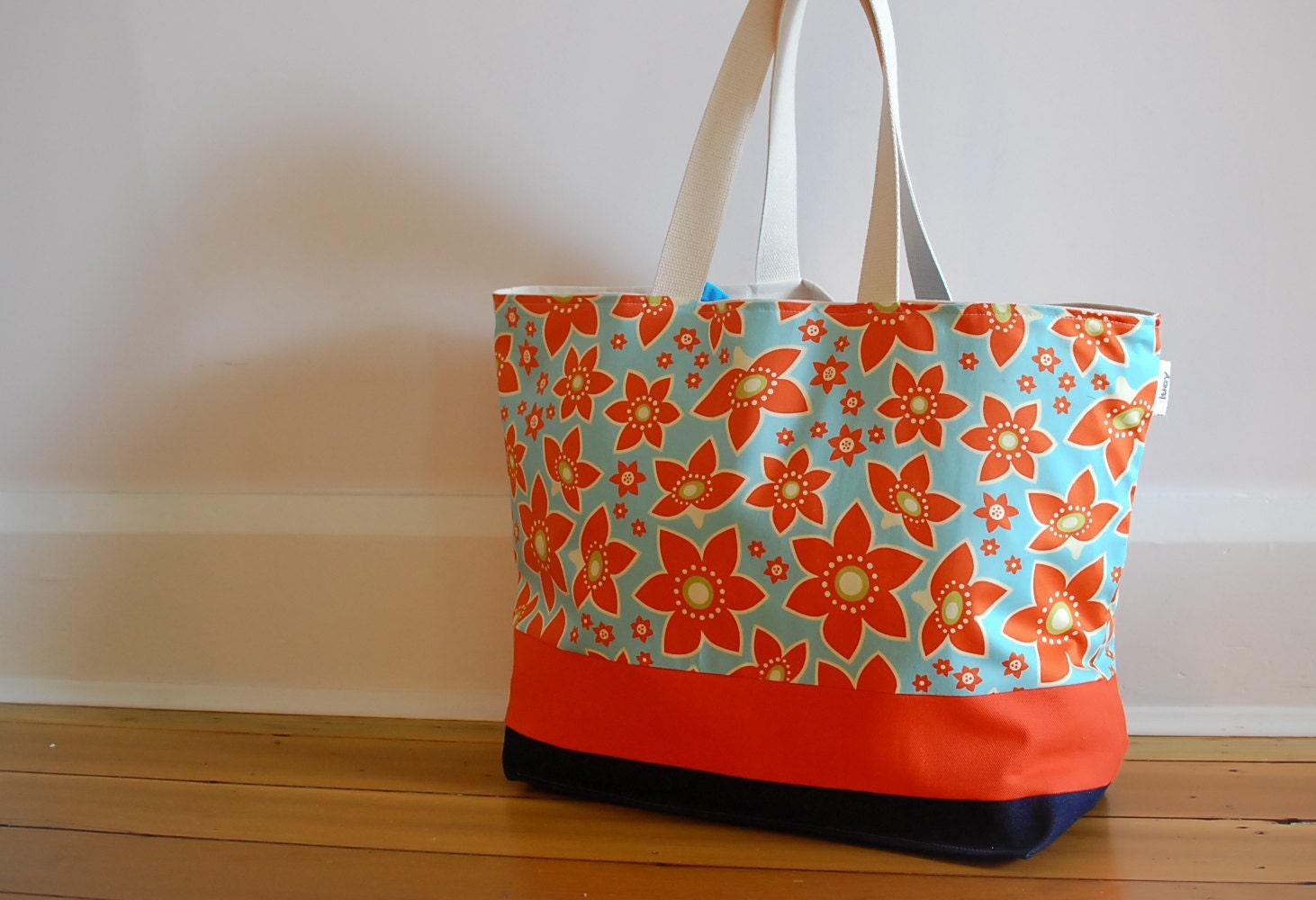 EXTRA Large Beach Bag // Tote In Orange And Aqua Flowers
