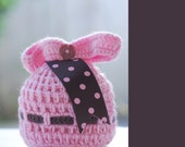 READY TO SHIP - Marshmellow Topper hat with ribbons - NEWBORN PHOTO PROP