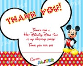 PRINTABLE Modern Mickey Mouse Thank You Cards