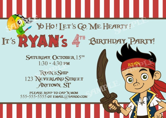 Jake and the Neverland Pirates Invitation - PRINTABLE 4x6 or 5x7