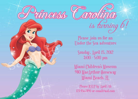 PRINTABLE Ariel, The Little Mermaid Birthday Invitation -  4x6 or 5x7 Digital File