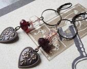 Valentine's Vintage Style Heart Earrings Hanging Heart Earrings