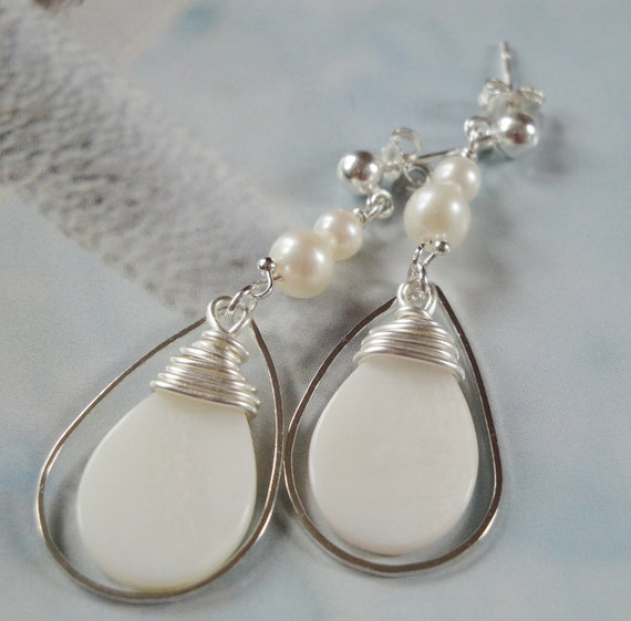 Winter White Elegance  Sterling Posts Freshwater Pearls Wire Wrapped Shell Earrings