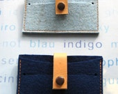 New Spring 2012  indigo -sky blue Credit Card Case Wallet. Gift Set of 2. Hand made.Eco friendly  Wool Felt leather snap closure