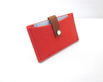 Business card holder-wool felt-leather credit card case- small wallet - handmade-eco friendly