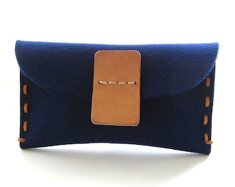 Wool felt Clutch - iPhone wallet- hand stitched- personalized  -Indigo blue- handmade- eco friendly- vegetable tanned Leather