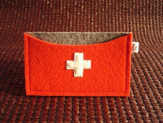 Swiss cross ID Credit card Business card case holder handmade grey orange red deluxe eco friendly Wool Felt  avant garde