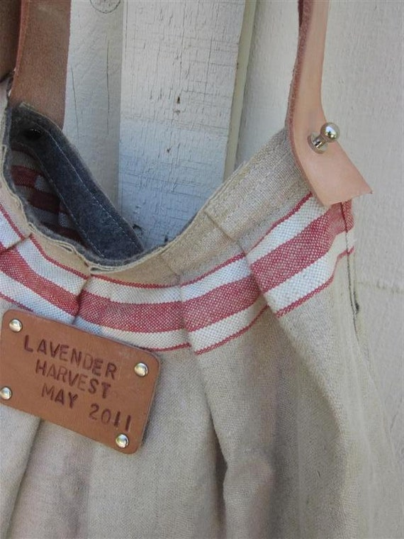 Vintage French  linen Beach Bag- Shoulder Bag- personalized Leather tag- hand loomed  hemp linen