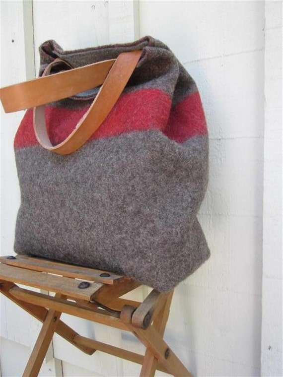 XL Swiss Army Wool Blanket Bag- Shopping Bag- Personalized-Taupe Red stripe - Leather-military industrial-great gift