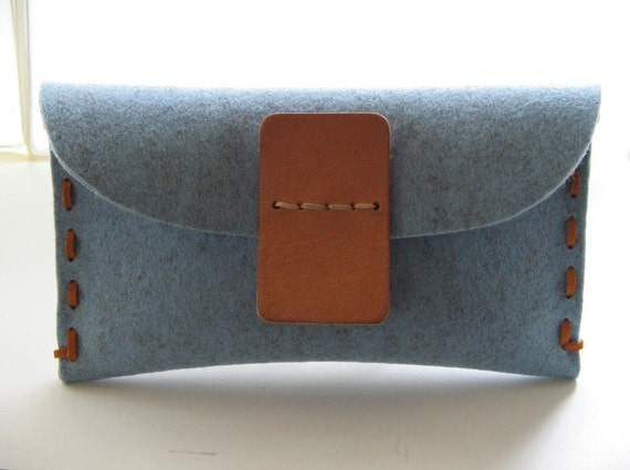 Hand stitched personalized  Clutch -sky blue- sassy Avantgarde -handmade- eco friendly wool felt-vegetable tanned Leather