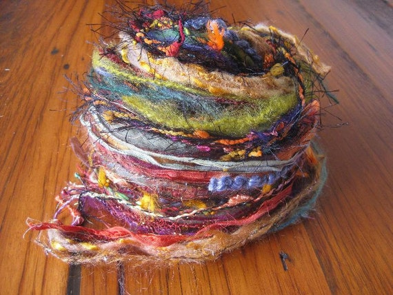 Mixed  TEXTURED  YARNS -  45 yards AUTUMN colours