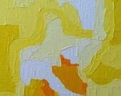 "Urban Art Abstract Painting Canvas Panel ""LEMON TART"" - Sunny lemon yellow. Bright White. Mustard Yellow. Original Abstract art on 11x14"
