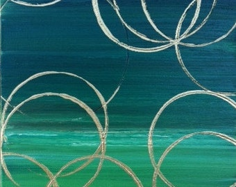 Art Oil Painting Abstract Emerald Green Gold - 12x16x1.5 Original Art green abstract small art art with circles