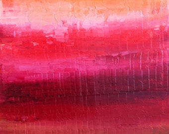 FREE SHIPPING**Red Abstract Painting, Ruby Red, Dark Chocolate Brown, Tangerine - Vibrant Oil painting,Textured, impasto.Cherry Red Painting