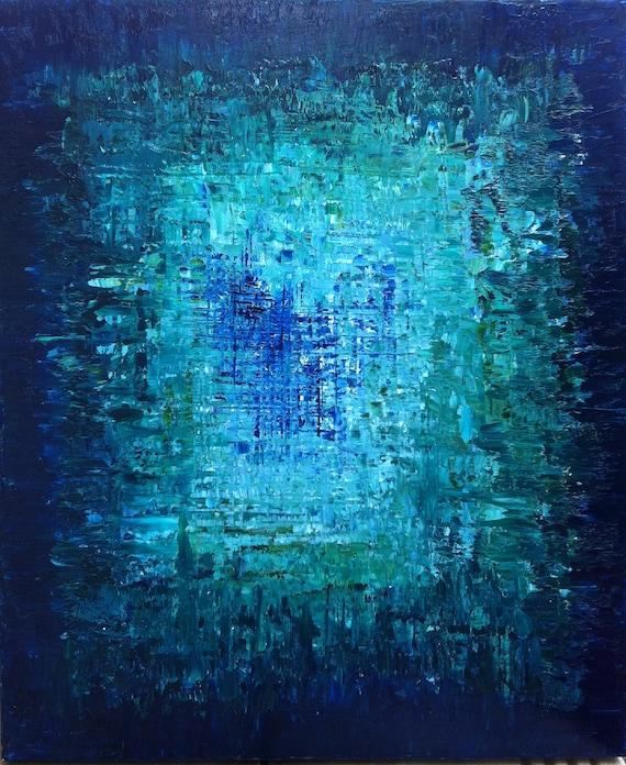 PENDANT l'océan brcishere - Art huile originale peinture océan Art abstrait, peinture abstraite. Bleu turquoise, bleu saphir - « L'abîme »