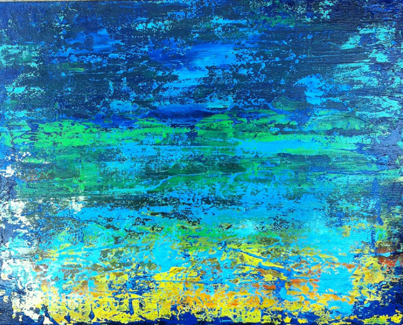 Art Original Painting Abstract Ocean Blue turquoise green