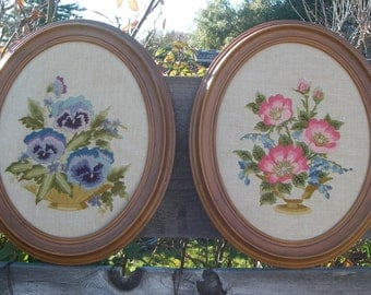 Set of 2 Vintage Floral Needlepoint in Oval Resin Frames