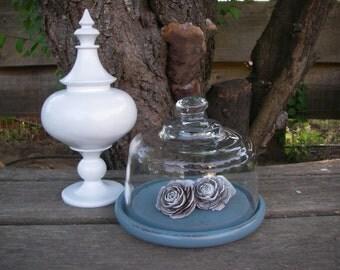 Glass Cloche dome vintage Shabby Blue