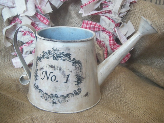 Shabby Rooster Watering Can Decor No 1