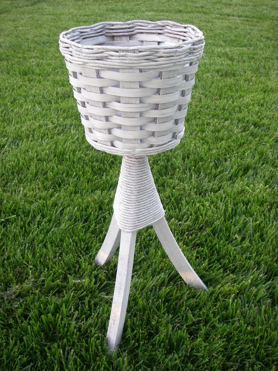 White Vintage Wicker Plant Stand By Abackyardcreation On Etsy
