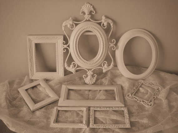 Picture Frame Collection White Shabby Mantle Wall Nursery Decor 7A