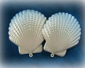 Iridescent Scallop Seashell Pendants Charms Pastel Blue Metal