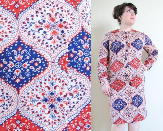 SALE Plus Size Dress 1960's vintage Blue and Red Folk Pattern Shift Dress // Russian Folk Spring Fashion // Size 12/14