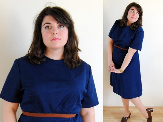 Plus Size Dress 1960's Blue Mod with Front Cross Design // Simple Suzy Spring Fashion // Size 22W 24W 2X