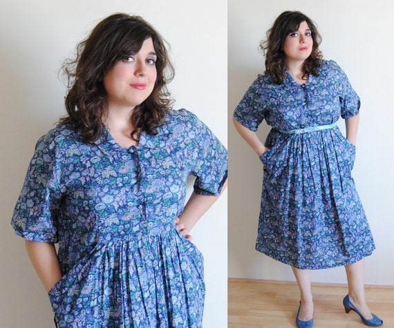 SALE Plus Size Dress 1930's Blue Floral Day Sack House Frock Dress // Sack It To Me Summer Fashion // Size 18 1X
