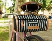 Special Edition Towpath Seat Duffel - Railroad Stripe Denim, All Leather Trim