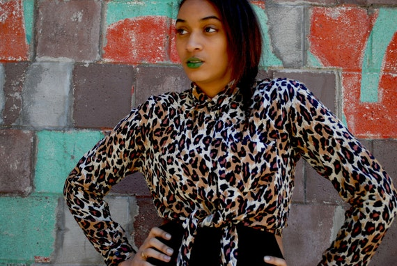 Vintage Leopard Crop Blouse Medium