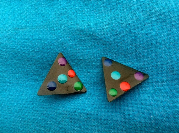 80s Triangle Polka Dot Earrings