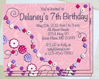 Printable Invitations - Beading Birthday Party