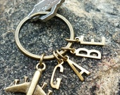 Rustic Airplane Keyring-personalized initials