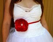 Raspberry Lotus Thin Sash  - Bridal and Bridesmaid