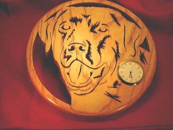 Solid Oak Labrador Retriever Wall Clock