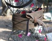 showdiva designs Leather Obi Belt Double Wrap Lush Distressed Brown