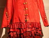 RESERVED showdiva designs Ready to Ship Leather Military Coat Asymmetrical Ruffles Hints of Leopard