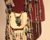 showdiva designs RoCk n RoLL Leather Medicine Bag Purse Belt Fringe with Silver n Turquoise Beading