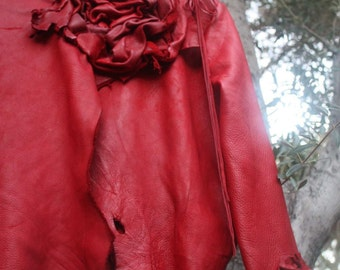 showdiva designs Made to Order Leather Jacket Large Hand Sculpted Flower at Neck and Wrist Asymmetrical