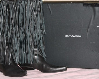 Incredible Black Leather Dolce n Gabbana Cowboy Boots with Layers of Fringe Rock n Roll Rockabilly
