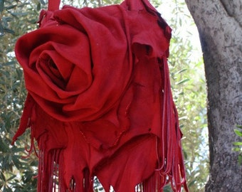 showdiva designs ReD Purse Bag Dripping with Fringe and Hand Sculpted Flowers