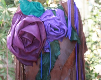 showdiva designs special Order Purse Bag Dripping with Fringe and Hand Sculpted Flowers